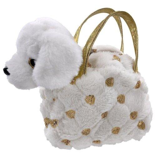Фото - Мягкая игрушка Fluffy Family Щенок в белой сумочке 18 см shokid интерактивная мягкая игрушка shokid щенок noisette 15 см