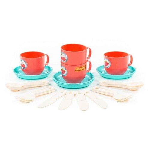 Набор посуды Полесье Минутка на 4 персоны красный/голубой/бежевый полесье набор игрушечной посуды алиса на 4 персоны 58980 цвет в ассортименте