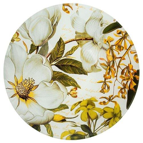 Доляна Тарелка суповая Ветвь жасмина 20 см белый/зеленый/желтый