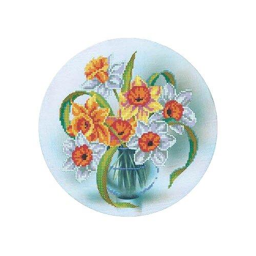 Купить Канва для вышивания с рисунком Alisena Нарциссы в вазе вышивка бисером В1147 25 х 25 см синий