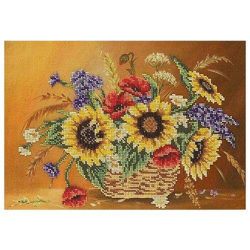 Купить Радуга бисера Набор для вышивания бисером Подсолнухи в корзине 37 х 25 см (В-202), Наборы для вышивания