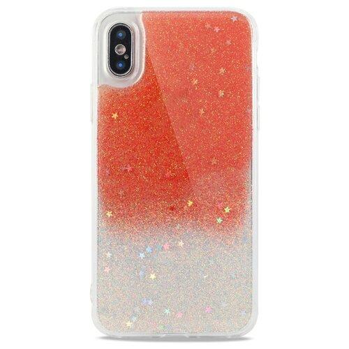 Силиконовый двуцветный чехол для (Эпл) iPhone X / XS Гель с Блестками / Pastila (Оранжевый)