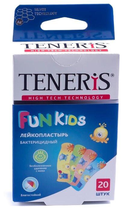 TENERIS Fun Kids лейкопластырь бактерицидный с ионами серебра на полимерной основе с рисунками, 20 шт.