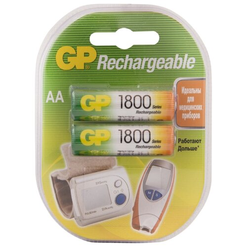 Фото - Аккумулятор Ni-Mh 1800 мА·ч GP Rechargeable 1800 Series AA 2 шт блистер аккумулятор smartbuy sbr 2a02bl2300 aa 2 шт