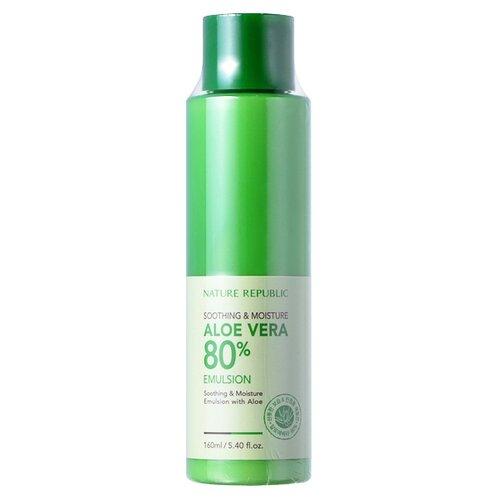 NATURE REPUBLIC Soothing and Moisturizing Aloe Vera 80% Emulsion Эмульсия с алое вера для лица, 160 мл nature republic 150ml face toner soothing