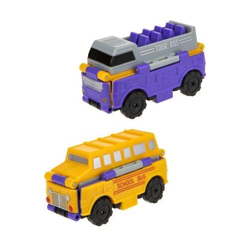 Купить Машинка 1 TOY Transcar Double 2 в 1: Даблдэккер/Школьный автобус (Т18282) 8 см фиолетовый/желтый, Машинки и техника