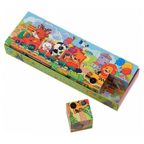 Кубики-пазлы Айрис-Пресс умные Едем с ветерком, Детские кубики  - купить со скидкой