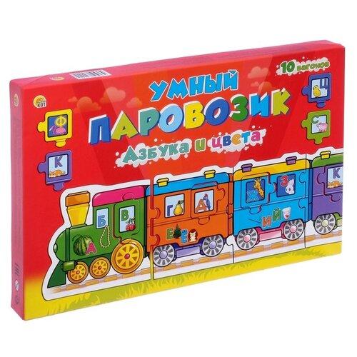 цена на Настольная игра Рыжий кот Умный паровозик. Азбука и цвета