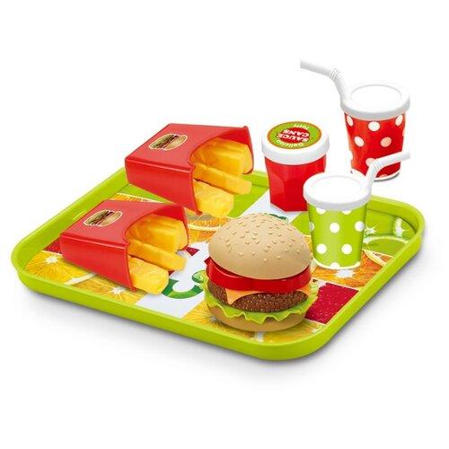 Купить Набор продуктов с посудой Junfa toys Фаст Фуд XJ326H-7 разноцветный, Игрушечная еда и посуда