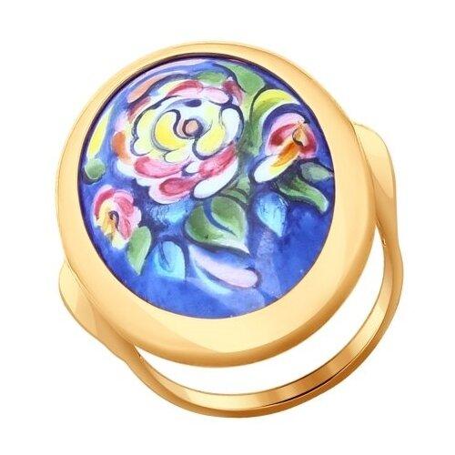 SOKOLOV Золотое кольцо с цветочной финифтью 781002, размер 17 золотое кольцо ювелирное изделие 01k663088