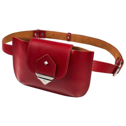 Сумка поясная MUMI, натуральная кожа, красный сумка поясная dimanche натуральная кожа металлик