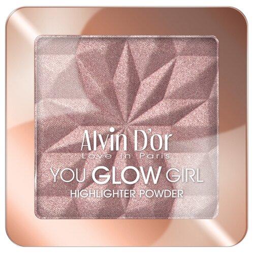 Alvin Dor Хайлайтер You Glow Girl highlighter powder 04 тон розовое сияние