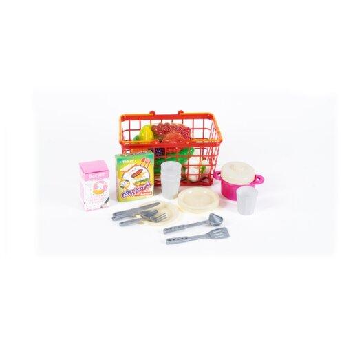 Купить Корзина 379 в.4 М Пикник малая, с фруктами и овощами, в сетке ОРИОН, Orion Toys, Игрушечная еда и посуда