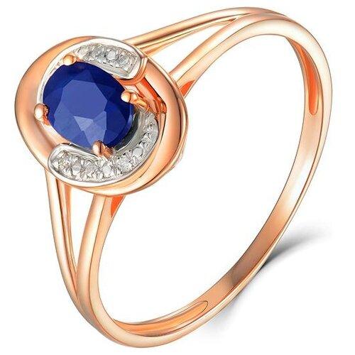 ЛУКАС Кольцо с сапфиром и бриллиантами из красного золота R01-D-69002R001-R17, размер 17.5 бронницкий ювелир брошь из красного золота h01 d hru1105aru r17