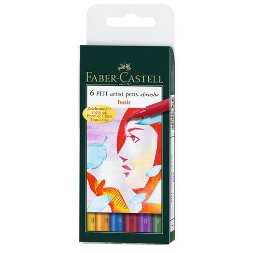 Faber-Castell набор капиллярных ручек Pitt Artist Pens brush Basic 6 цветов (167103), разноцветный цвет чернил