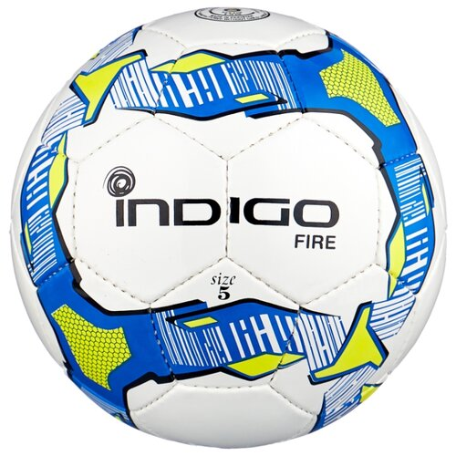 Футбольный мяч Indigo FIRE IN026 белый/синий/желтый 5