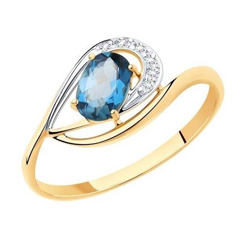 Diamant Кольцо из золота с синим топазом и фианитами 51-310-00304-2, размер 17 diamant кольцо из золота с топазом 51 310 00971 1 размер 17