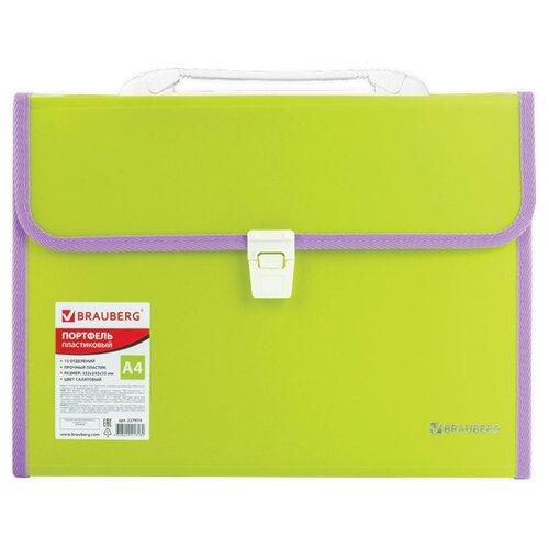 Купить BRAUBERG Портфель пластиковый Joy А4, 13 отделений салатовый, Файлы и папки