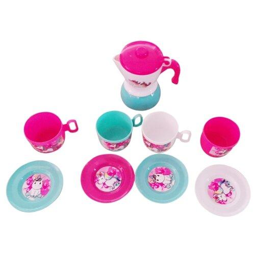 Купить Набор посуды Наша игрушка LN794E белый/розовый/голубой, Игрушечная еда и посуда