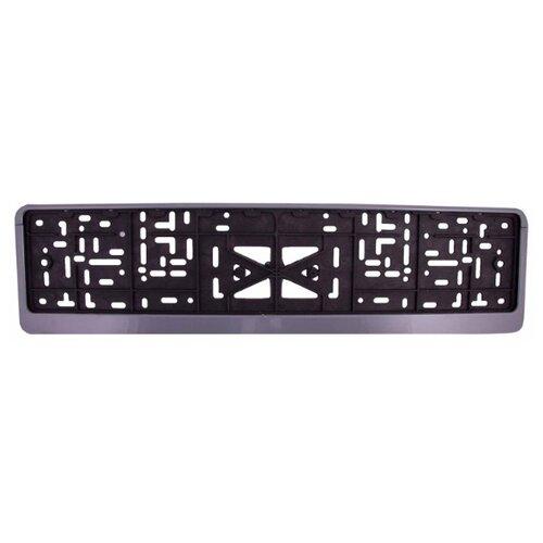 Рамка для номера пластм с защелкой серая без надписи SKYWAY полированная 1шт