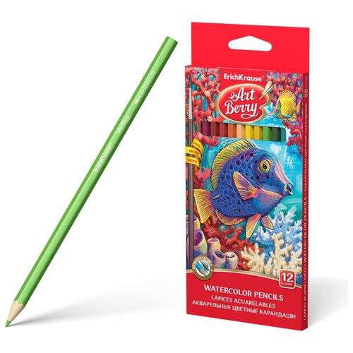 Купить ErichKrause Акварельные карандаши шестигранные ArtBerry12 цветов с кисточкой (32485), Цветные карандаши