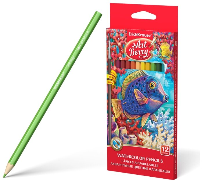 ErichKrause Акварельные карандаши шестигранные ArtBerry12 цветов с кисточкой (32485)