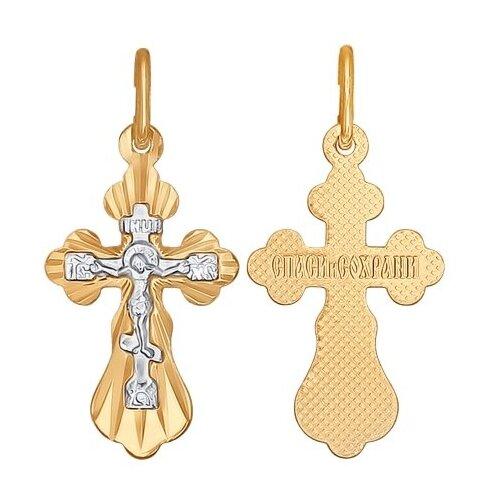 SOKOLOV Крест из комбинированного золота с алмазной гранью 121206