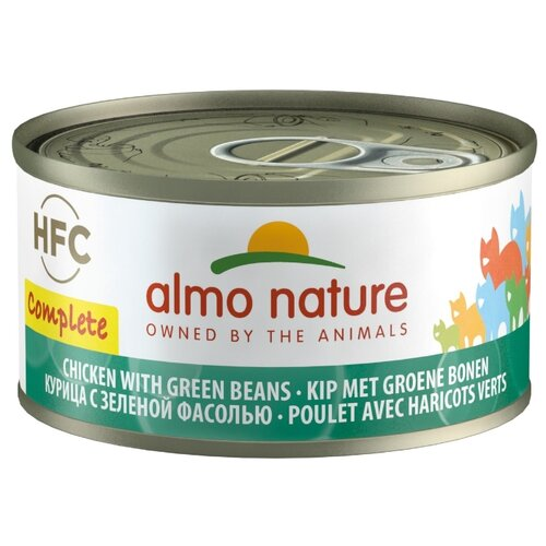 Влажный корм для кошек Almo Nature HFC, беззерновой, с курицей, с зелёной фасолью 70 г