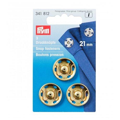 Фото - Prym Кнопки пришивные 341812, золотистый, 21 мм, 3 шт. prym кнопки пришивные квадратные 347125 белый 9 мм 15 шт