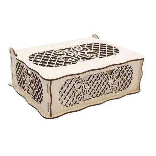 Купить Astra & Craft Деревянная заготовка для декорирования шкатулка Вензель L-466 бежевый, Декоративные элементы и материалы