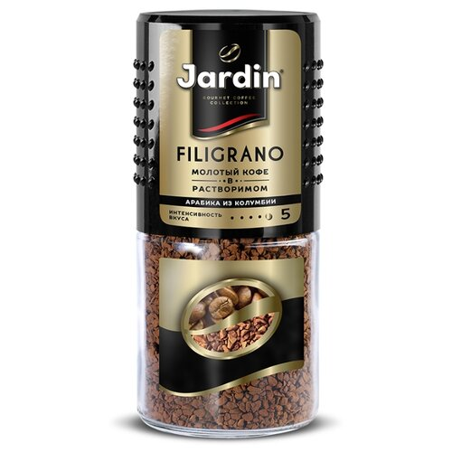 Кофе растворимый Jardin Filigrano с молотым кофе, стеклянная банка, 95 г