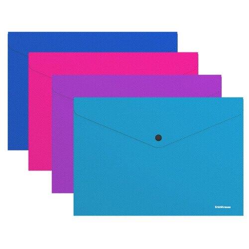 Купить ErichKrause Папка-конверт на кнопке Diagonal Vivid A4, пластик (47112) в ассортименте, Файлы и папки