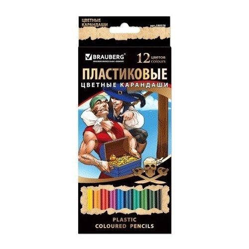 Купить BRAUBERG Карандаши цветные Корсары, 12 цветов (180578), Цветные карандаши