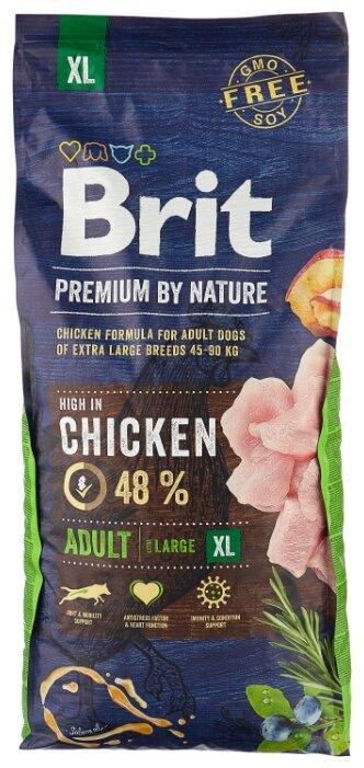 Купить Сухой корм для собак Brit Premium by Nature курица 15 кг (для крупных пород) по низкой цене с доставкой из маркетплейса Беру