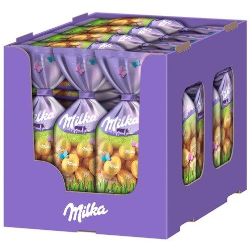 Фигурный шоколад Milka молочный в форме яйца с ореховой начинкой и хрустящими хлопьями (35 шт.) фигурный шоколад milka mini eggs молочный в форме яйца в сахарной глазури 24 шт