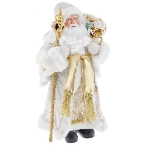 Фигурка Феникс Present Дед мороз с мешком и посохом 30 см белый/золотой