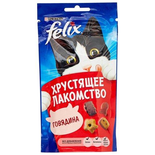 Лакомство для кошек Felix Хрустящее лакомство со вкусом говядины, 60г felix лакомство для кошек felix рыба