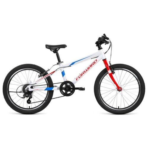 Фото - Подростковый горный (MTB) велосипед FORWARD Rise 20 2.0 (2020) белый/красный 10.5 (требует финальной сборки) горный mtb велосипед merida matts 7 20 2020 glossy purple lilac s требует финальной сборки