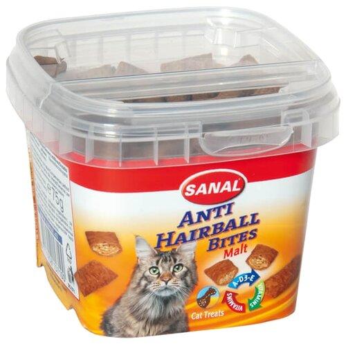 Лакомство для кошек SANAL Anti Hairball Malt Bites подушечки с солодовой пастой и витаминами A, D, E, 75г