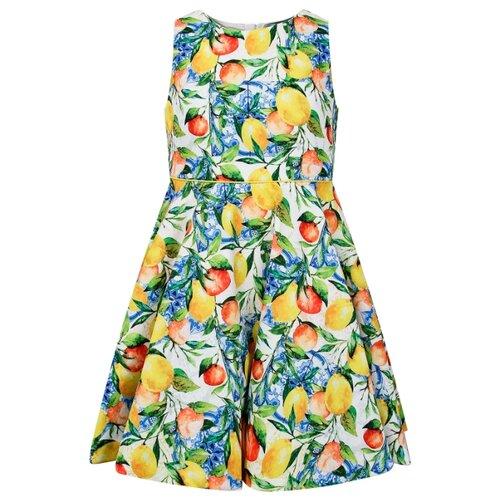 Платье Abel & Lula размер 116, зеленый/желтый/голубой