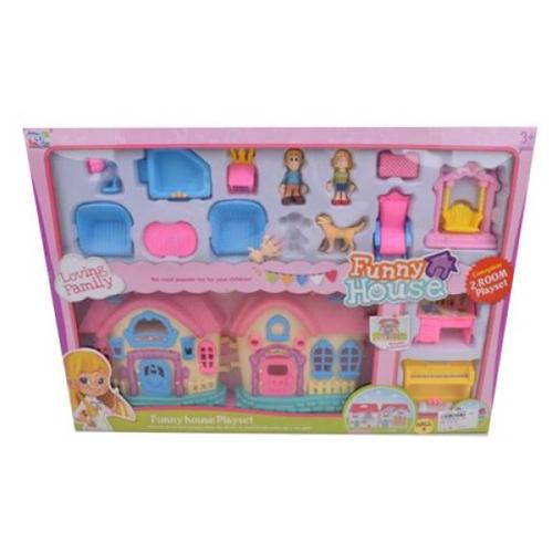 Купить Наша игрушка кукольный домик KDL39-58A, желтый/розовый/голубой, Кукольные домики