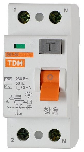 УЗО TDM ЕLECTRIC 30мА тип AC ВД1-63 2 полюса