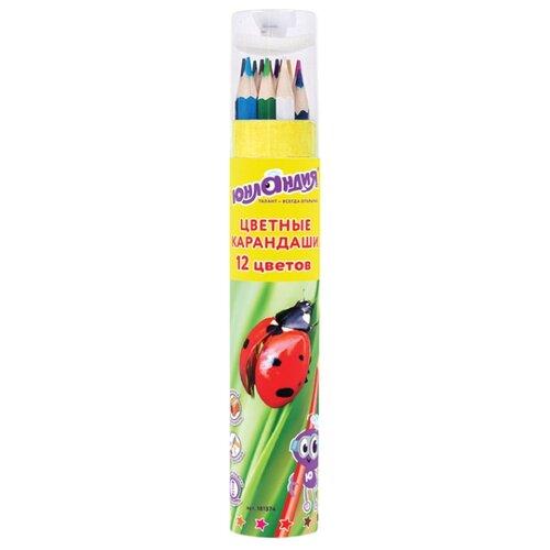 Купить Юнландия Карандаши цветные Мир животных 12 цветов (181374), Цветные карандаши