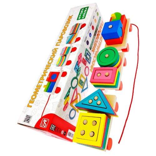 Каталка-игрушка АНДАНТЕ Геометрический Паровозик (RDI-D086a) красный/зеленый/синий/желтый недорого