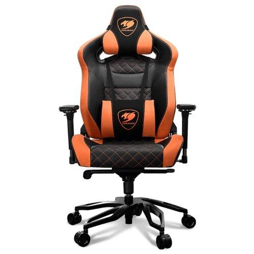 Компьютерное кресло COUGAR Throne игровое, обивка: искусственная кожа, цвет: черный/оранжевый коврик cougar neon x черный