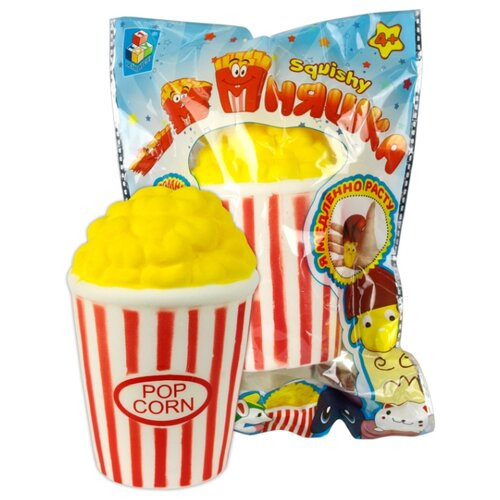 Игрушка-мялка 1 TOY Попкорн Т12314 желтый/белый/красный