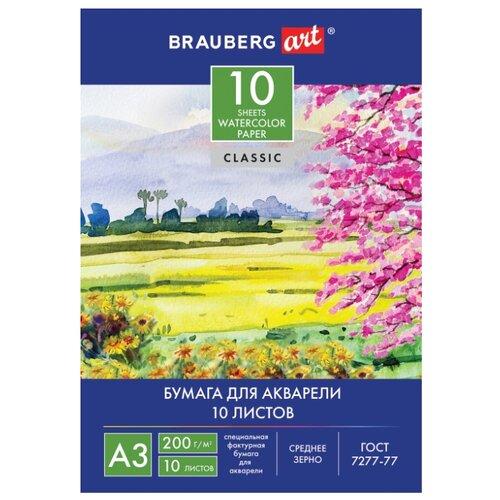 Купить Папка для акварели BRAUBERG Art Пейзаж 42 х 29.7 см (A3), 200 г/м², 10 л., Альбомы для рисования