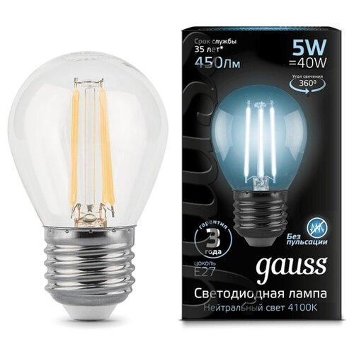 Лампа светодиодная gauss 105802205, E27, G45, 5Вт лампа светодиодная gauss 105101210 e14 g45 9 5вт