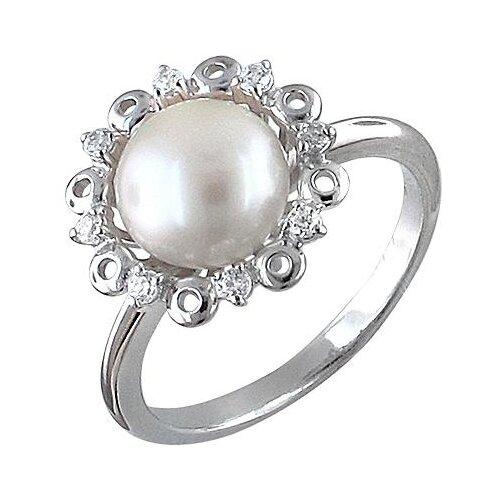 Эстет Кольцо с жемчугом и фианитами из серебра Л8К3519425, размер 16 ЭСТЕТ