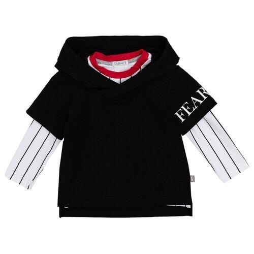 Купить Лонгслив Gulliver Baby размер 74, черный/белый, Футболки и рубашки